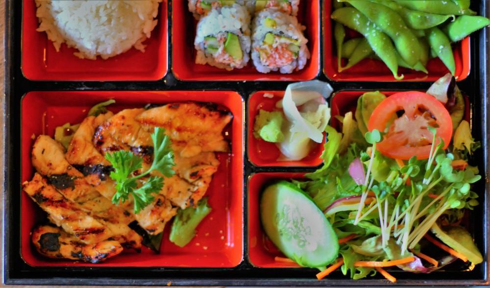 steamed rice, california rolls, edamame, chicken teriyaki, salad, wasabi, ginger, black ship, little katana, sushi, foodie, downtown dallas, omni, lamar street